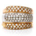 Estate Diamond 18K Tri-Color Three Row Band Ring