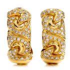 Estate Italian Diamond 18K Gold Link Oval Hoop Earrings