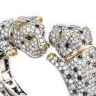 Rare 1970s Vintage Double Panther Diamond Sapphire Emerald Convertible 18K Bangle Bracelet/Earrings