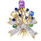 Tiffany Schlumberger Sapphire Floral Bouquet Lapel Brooch Pin
