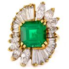 Estate Emerald Diamond 18K Gold Floral Cocktail Ring