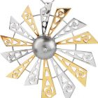 Estate Diamond South Sea Pearl 18K Two-Tone Gold Windmill Exquisite Pendant