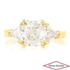 Estate 3.05ct Cushion Cut Diamond 18K Yellow Gold Three-Stone Engagement Ring NR