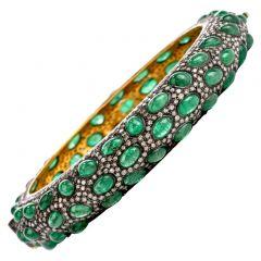 Vintage Diamond Emerald 18K Gold Silver Bangle Bracelet
