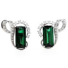 Vintage GIA Green Tourmaline Diamond Platinum Ribbon Clip On Earrings