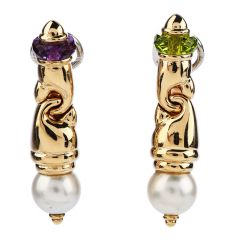 Italian Pearl Peridot Amethyst 18K Yellow Gold Retro Dangle Link Earrings