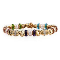Italian Diamond Pearl Multi-Color Gemstones 18K Gold Retro Link Bracelet
