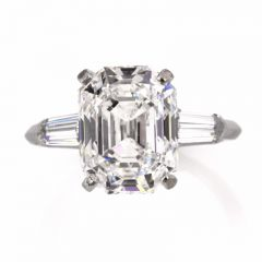 GIA Certified Emerald-Cut 5.09 cts  F-IF Diamond Platinum Engagement Ring