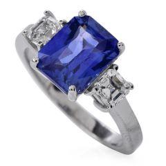 GIA 3.45ct Ceylon Sapphire Diamond Platinum Three Stone Engagement Ring
