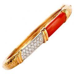 Vinatge 1970's Designer Coral Dimaond Bangle Bracelet