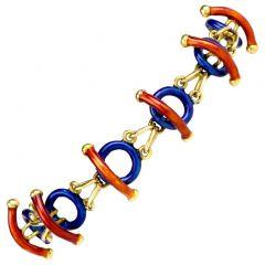 Estate Italian Limited Edition 18K Enamel Link Bracelet