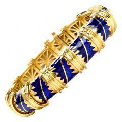 1980's Chic Blue Enamel 18k Yellow Gold Bangel Bracelet