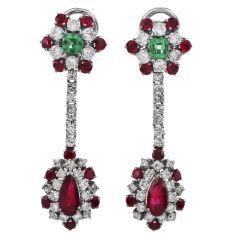 Vintage Ruby Emerald Diamond 18K Gold Dangle Floral Earrings