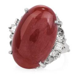 Estate Red Coral Diamond Platinum Cocktail Ring