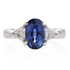 GIA Oval Sapphire Diamond Platinum Three Stone Ring