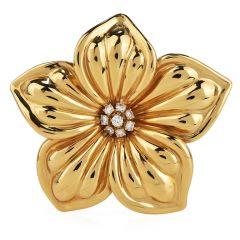 Van Cleef & Arpels Diamond 18K Gold Unique Magnolia Floral Pin Brooch