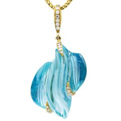 Aquamarine Diamond 14K Gold Carved Pendant Necklace