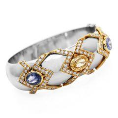 Natural No-Heat GIA 13.90cts Sapphire Diamond Platinum Gold Bangle Bracelet