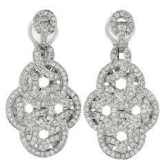 2.32ct Diamond 18K Gold Elegant Dangle Drop Earrings