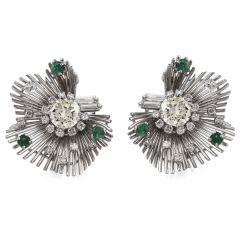 Vintage Diamond Emerald Platinum Starburst Floral Earrings