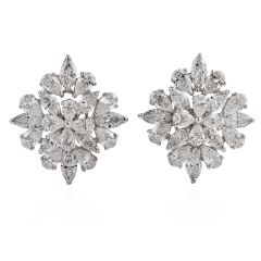 Estate 9.65cts Marquise Pear Cluster Diamond 18k Gold Earrings