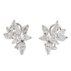 Estate 6.20cts Pear Marquies Cluster Diamond Platinum Earring