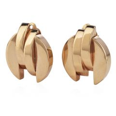 Vintage 1950s 14K yellow Gold Retro Large Clip Back Earrings