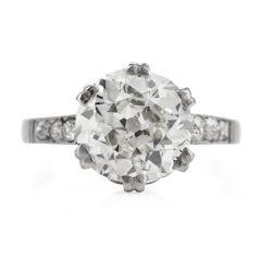 Vintage EGL Diamond Platinum Old European Cut Engagement Ring