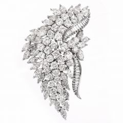 Vintage ELWOOD VAN CLIEF Diamond Platinum Brooch Pin 17.50 Carats