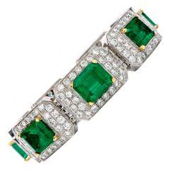 Estate 44.20 Carat Colombian Emerald & Diamond 18K Gold Bracelet