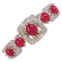 GIA Ruby Diamond 18K Gold Oval Cabochon Bracelet