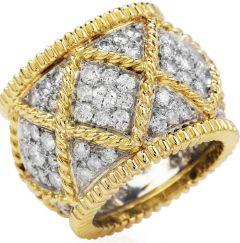 Estate Designer Diamond 18K Gold Elegant Wide Eternity Band Ring
