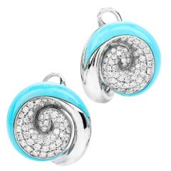 Estate Diamond Turquoise 18K Gold Scallop Clip On Earrings