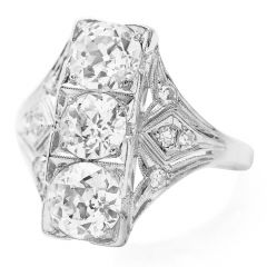 GIA Antique Old European Diamond Platinum Three Stone Filigree Engagement Ring