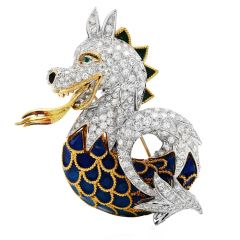 Vintage 12.24cts Diamond Enamel 18K Gold Unique Dragon Pin Brooch