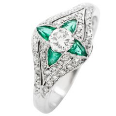 Estate Emerald Diamond 18K Gold Delicate Floral Band Ring