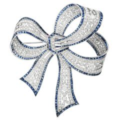 Estate 8.38cts Sapphire Diamond Platinum Elegant Ribbon Pin Brooch