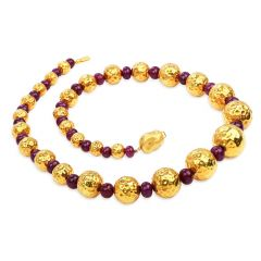 Estate Ruby Diamond 18k Gold Textured Matinee Necklace