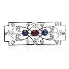 Vintage Diamond Cabochon Ruby Sapphire Platinum Floral Brooch Pin