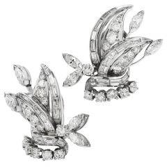 Vintage 3.52ct Diamond Platinum Starburst Floral Clip on Earrings