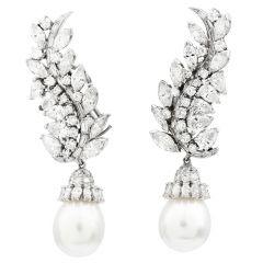 Vintage Diamond Pearl Dangle Platinum Drop Day Night Earrings