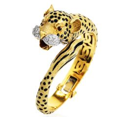 Vintage Cheetah Diamond Ruby Enamel 18K Gold Cat Bangle Bracelet