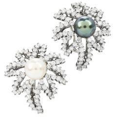 TIFFANY & CO FIREWORKS 4.50cts  Diamond Pearl Platinum Earrings