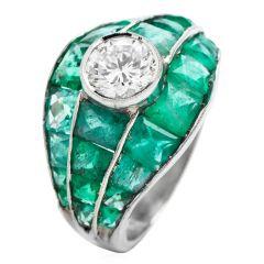 Vintage 6.75cts Diamond Emerald Platinum Dome Cocktail Ring