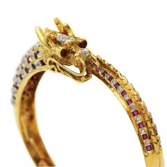 Vintage Diamond Ruby Asian Dragon 18K Gold Bypass Bangle Bracelet