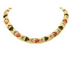 Retro Diamond Ruby Peridot Coral 18K Gold Fish Link Choker Necklace