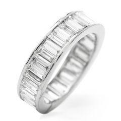 Estate 3.80cts  Baguette Diamond Platinum Eternity Band Ring