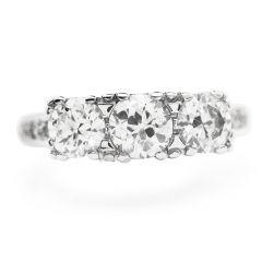 Estate Old European Diamond 14K Gold Three Stone Engagement Ring