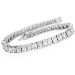Estate 9.70cts Asscher Cut Diamond Platinum Line Tennis Bracelet