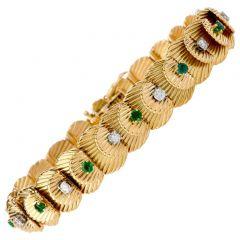 Van Cleef & Arpels Vintage Diamond Emerald 18K VCA Gold Bracelet